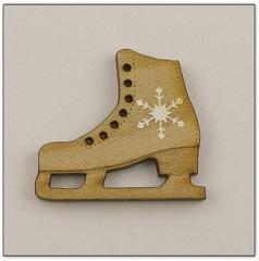 Bouton patin à glace bois ref.